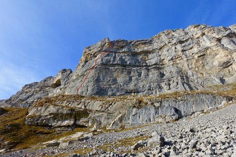 Ofen Indianderpfeiler, Moderne Zeiten, klettern Mehrseillängen, Kalk, Melchtal, Obwalden