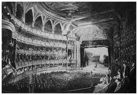 1869: Die Wiener Hofoper am Ring (Aquarell im Kunsthistorischen Museum).
