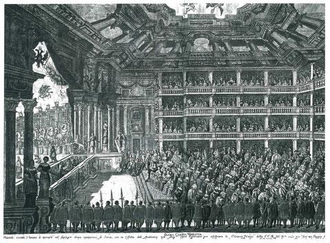"""Innenansicht des 1668 auf der """"Cortina"""" errichteten Opernhauses. Es war aus Holz erbaut und wurde bereits 1683 wieder abgebrochen (Frans Geffels / Archiv der ÖNB)."""