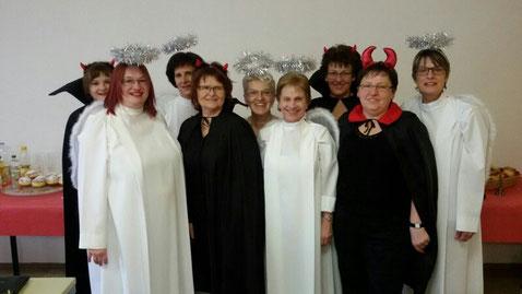 """""""Himmel und Hölle"""" war das Motto der Damen vom Frauenbund-Führungskreis.                                  Bild: KDFB Oberwildenau"""