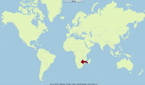 Karte, Botswana, Welt