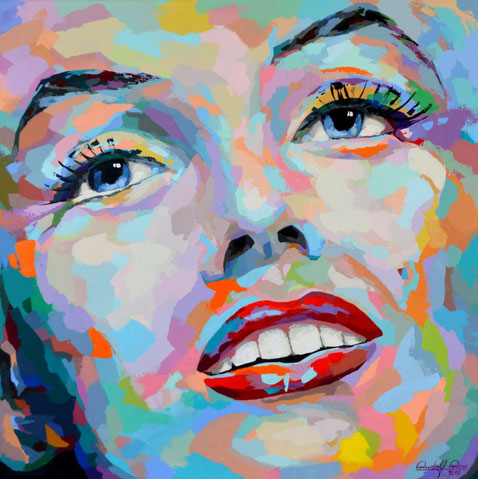 Bunt gespachteltes abstraktes Acrylbild.