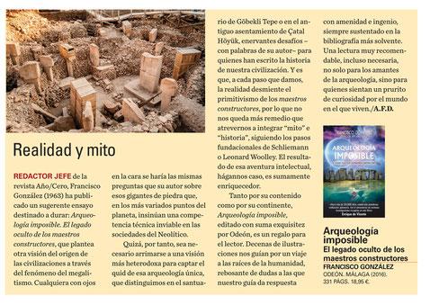 Reseña del libro Arqueología Imposible en la revista Historia de Iberia Vieja