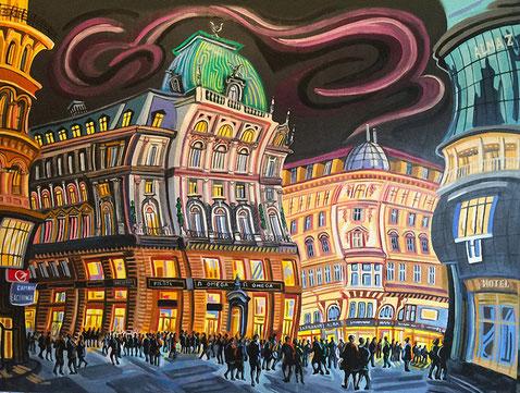 ZONA COMERCIAL (VIENA). Oleo sobre lienzo. 100 x 81 x 3,5 cm.