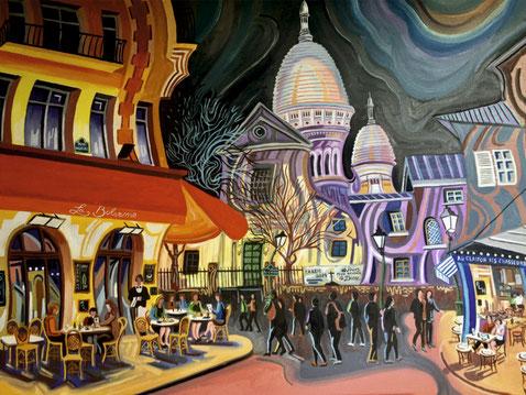 PLAZA JEAN-MARAIS (PARIS). Oil on canvas. 81 x 100 x 3,5 cm.