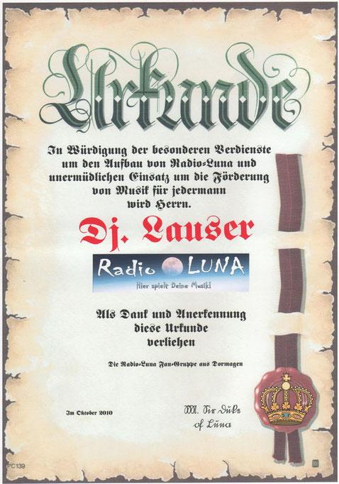 Urkunde für LunaDJLauser