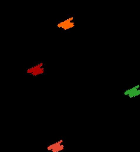 Strukturformeln von Carotin, Betanin, Chlorophyll und Anthocyan