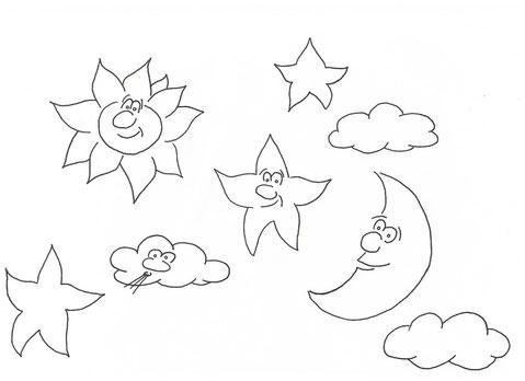 Sonnen, Monde, Sterne und Wolken