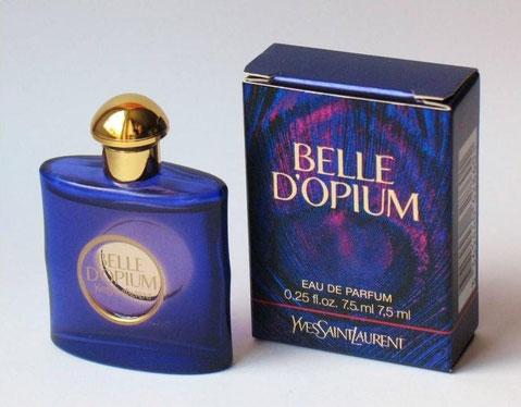 2010 - BELLE D'OPIUM - EAU DE PARFUM 7,5 ML  : BOÎTE ET MINIATURE BLEUE ET MAUVE