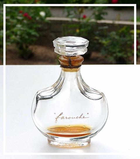 FAROUCHE - FLACON AMPHORE CRISTAL LALIQUE, BOUCHON EN CRISTAL : PARFUM 15 ML