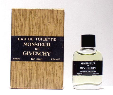 MONSIEUR DE GIVENCHY - EAU DE TOILETTE : BOÎTE FACON BOIS, MINIATURE AVEC ETIQUETTE-CEINTURE