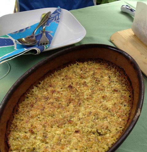 ズッキーニのチーズグラタンはベジタリアンのインド人たちにも好評だったもの
