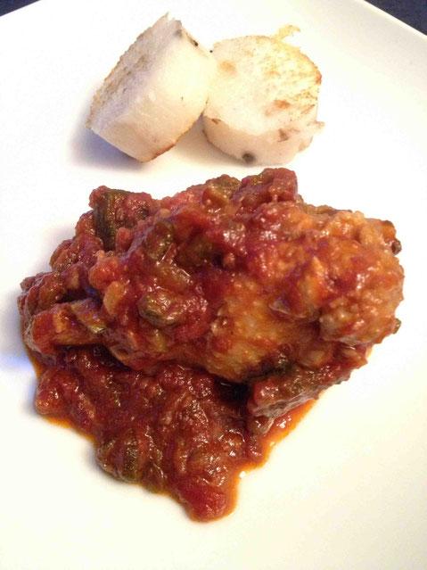 3日前に作ったチキンガンボの残り。残っていた長芋はじっくりソテーして塩胡椒のみ