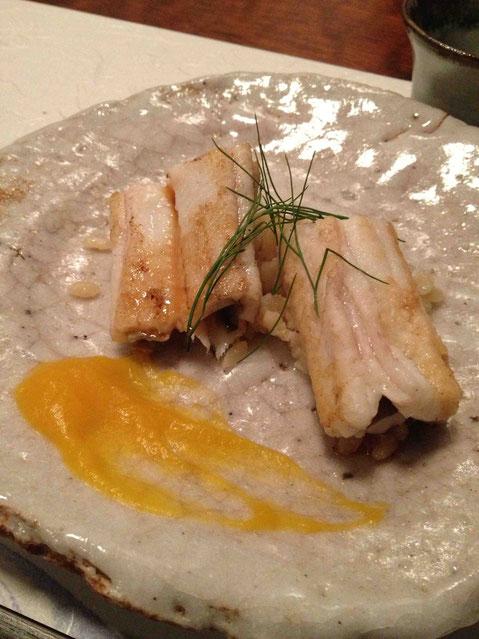 淡路の穴子の塩焼き。バターナッツスカッシュのソース仕立て。天遊琳純米吟醸19BY 42度 ディルをあわせてくるか、、、と舌をまく