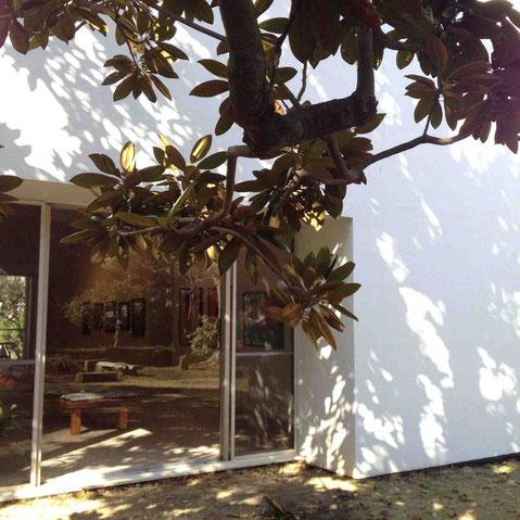 大きな窓からは陽が振りそそぐ。住宅街の一角にひっそりと佇む真っ白な美術館
