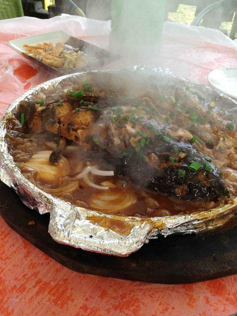 黒魚(雷魚?)の揚げ蒸し煮。15分ほど待ったら湯気をあげて登場。おいっしいい!@玖玖圆