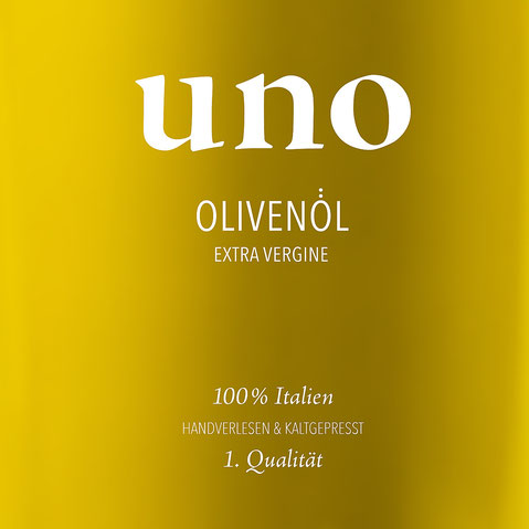 Bild: Logo Uno Olivenöl extra vergine mit neuem Corporate Design