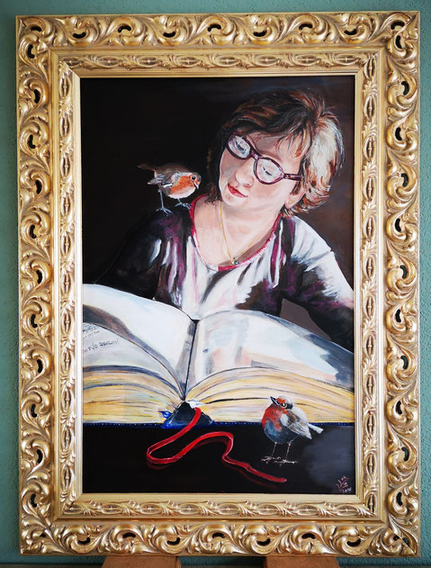 46.Robin...Lang leven Rembrandt...Portrait of a reading woman  40x60cm