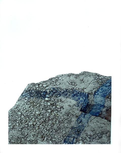 """""""Landschaftsfärbung"""", 1976, 100 x 80 cm, Tusche, Farbstifte auf Karton, Privatsammlung Paris"""