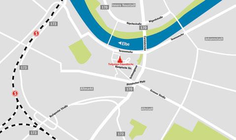 Anfahrtskarte zur Tiefgarage An der Frauenkirche