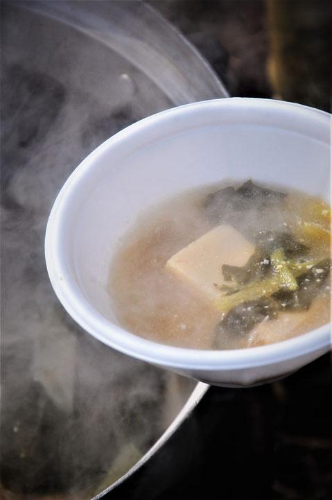 お昼は、畑のネギとカブ葉に高野豆腐のお味噌汁。ごちそうさまです。