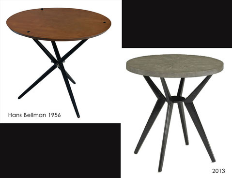 Two similar end tables -left from 1956, right is present model.