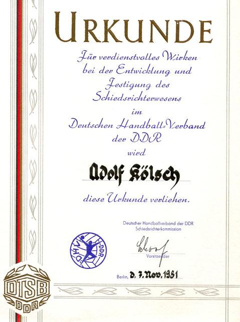 1981 wurde Addi Kölsch aus der Leistungsklasse I (höchste der DDR) vom Vorsitzenden der Schieri-Kommision, Kurt Schoof in der Herrmann-Gieseler-Halle verabschiedet