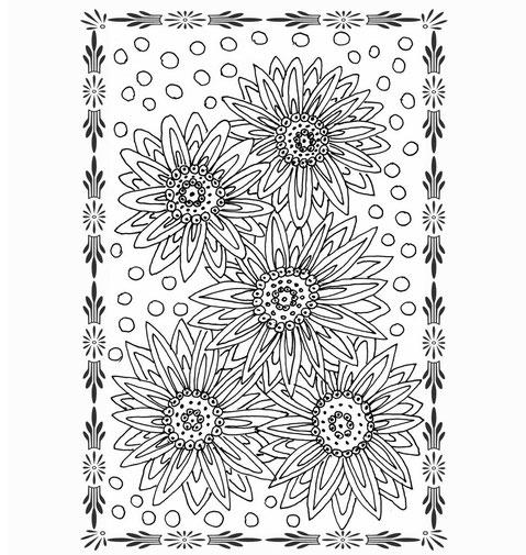Sommer Ausmalbild mit Blüten, kostenlose Vorlage vom Ulli Verlag