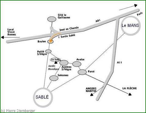 """Accès au """"jardin mosaique"""" d'asnieres sur vègre depuis Le Mans, Sablé, Angers, Tours, La Flèche"""