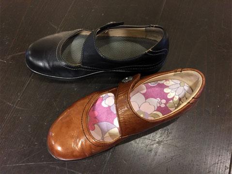 上の靴にはカーキ色、下の靴にはポップな花柄を貼り替えてみました