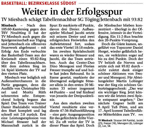 Bericht im Miesbacher Merkur am 8.3.2016 - Zum Vergrößern klicken