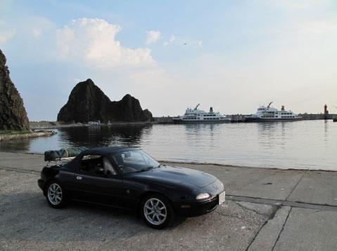 5:26 ウトロ漁港に到着 ここからクルーザーで知床半島観光の出発をする。9時半出発予定。