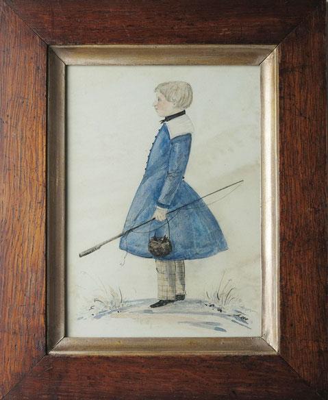 English naive folk art watercolor of a boy with fishing gear