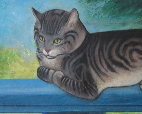 Naive folk art portrait of a cat