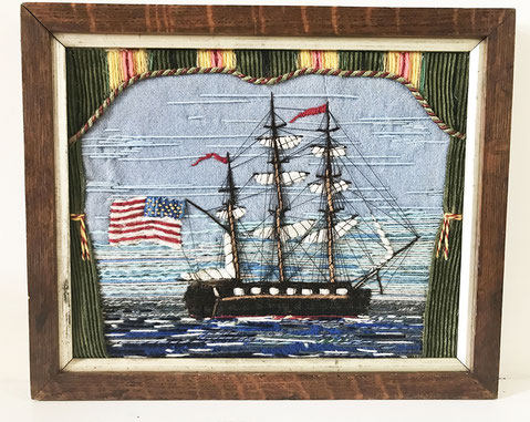 Early sailors woolwork 'woolie' folk art of a three masted ship with american flag