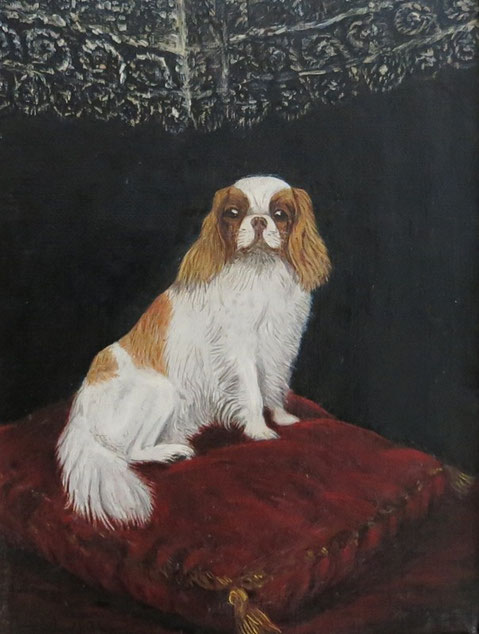 Pampered Pekingese with attitude - oil on canvas