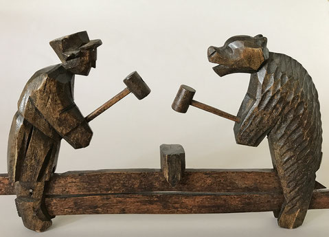 German Black Forest childrens toy of a workman and bear