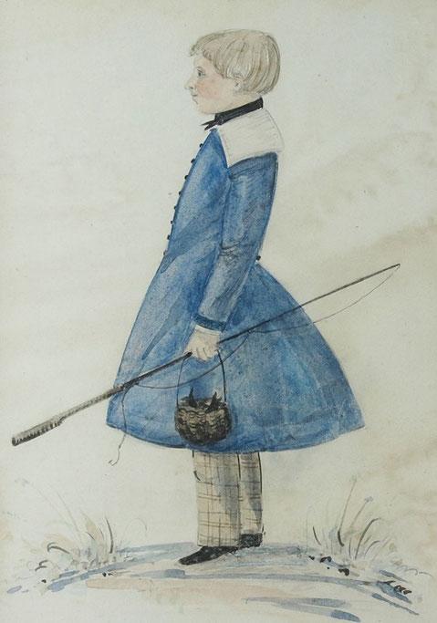 English naive folk art watercolour of a boy with fishing gear