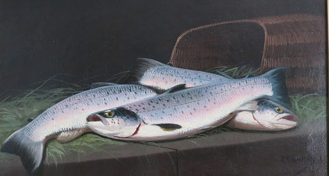 James Russell, Scottish, Salmon, Oil on board