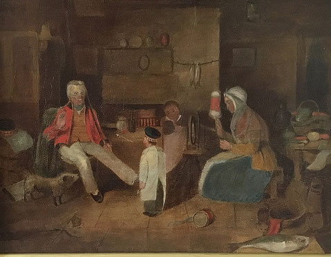 Scottish naive oil, Scottish interior croft scene