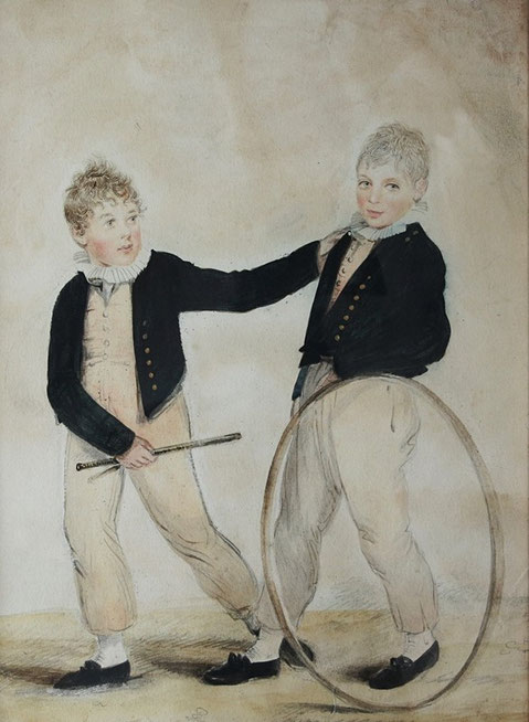 English 19thfolk art  watercolour of two brothers