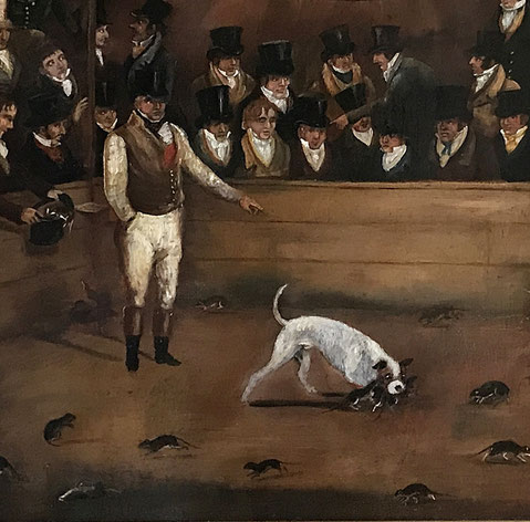 Billy the Ratcatcher, Westminster Pit, oil on panel, 1823