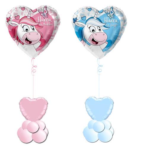 Hurra ein Mädchen Junge Folienballon Ballon Heliumballon Geburt Geschenk Überraschung personalisiert mit Name Baby Girl Boy Datum Geburtsdatum