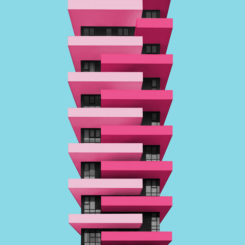 Torre Aria Milano centro direzionale colorful architecture purple pink blue facade design inspiration modern minimal photography
