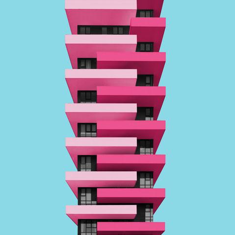 Torre Aria Milano centro direzionale colorful architecture purple pink blue facade design inspiration modern minimal photography