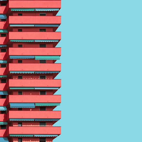residential high rise Milan Italy colorful architecture photography minimal modern facade design inspiration red and blue