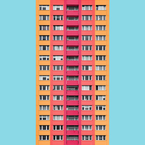 Berlin Plattenbau DDR GDR east Berlin socialist high rise. Colorful modern minimal architecture photography. facade design inspiration in yellow orange and pink
