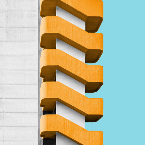 concrete staircase colorful architecture facade minimal modern design inspiration photography yellow white blue
