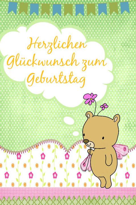 Glückwünsche zum Geburtstag Kind süße Spruchkarte zum gratis Weiterleiten
