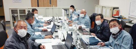 未経験者用仕事紹介 株式会社田村工業所 事務所内 施工管理技士写真